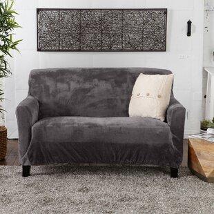 Velvet Plush Form Fit Box Cushion Loveseat Slipcover