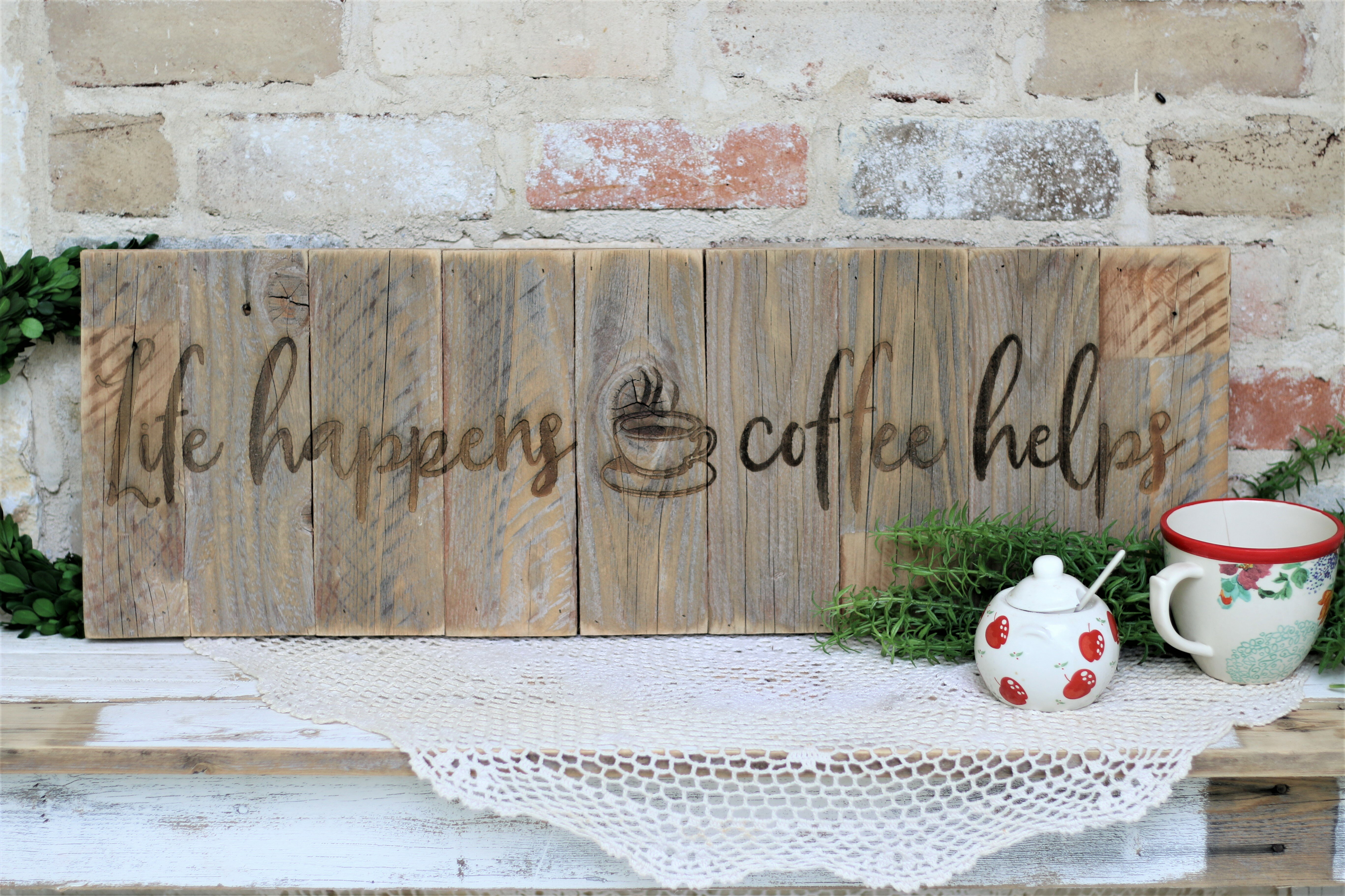"Bar Rustic Farmhouse Wood Coffee Wall Decor Sign for Kitchen Barnyard Designs /'Ok Cafe 24/"" x 8.5/"" Display Rack But First Coffee/' Mug Holder"