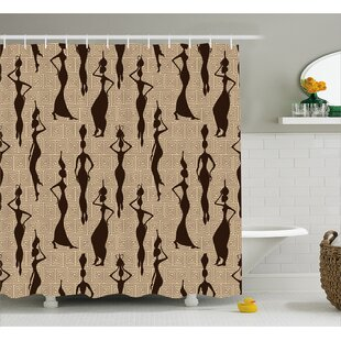 Hamdisse Modern Pattern With Primitive Effects and Ethno Stripes Backdrop Illustration Single Shower Curtain