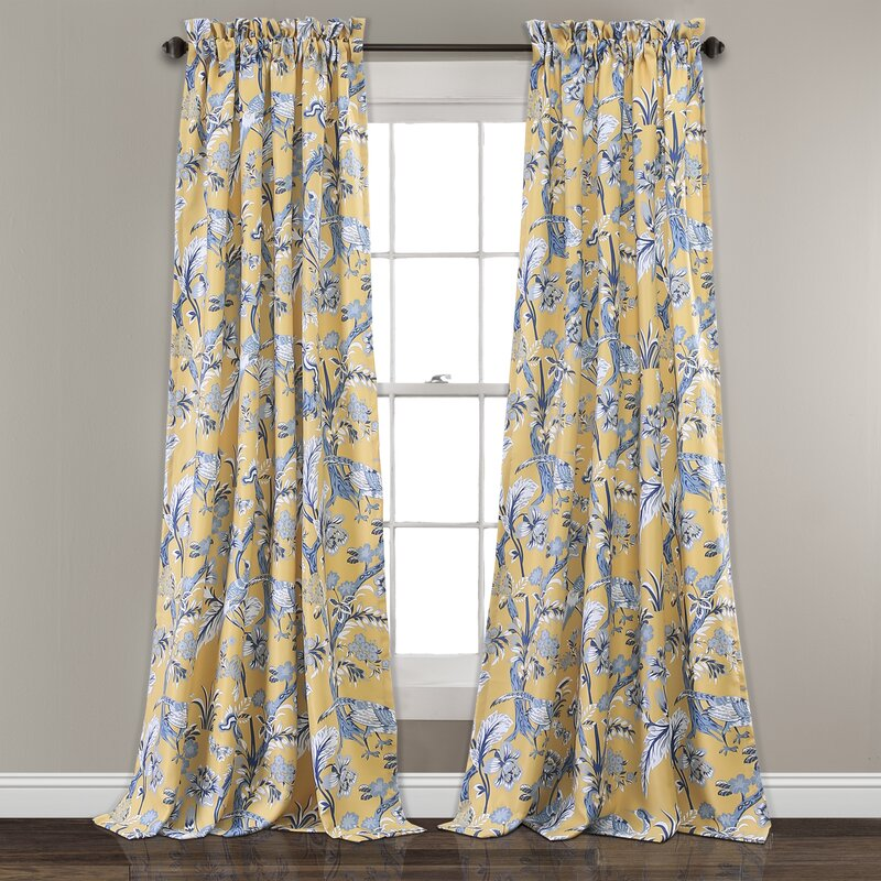 Bay Isle Home Panagia Floral Room Darkening Thermal Rod Pocket Curtain Panels Reviews Wayfair