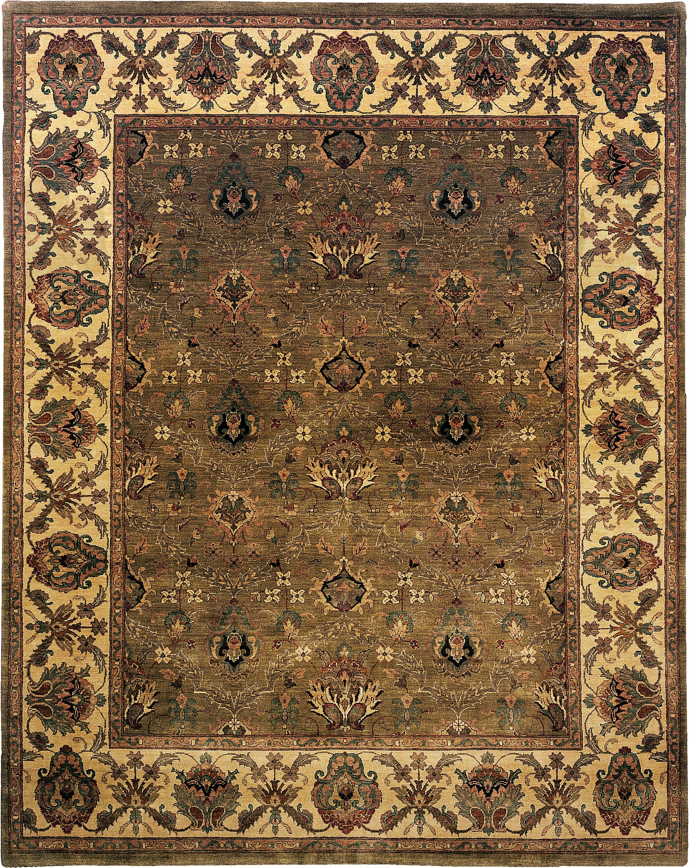 Exquisite Rugs Moghul Hand Knotted Wool Light Green Gold Area Rug Perigold