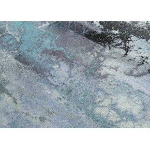 Aqua Blue Galaxy Multi-Color Splashes Modern Area Rug Non-Slip Rubber Backing