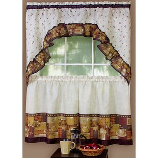 Cadney Traditional Elegance Coffee 2 Piece Kitchen Curtain Set