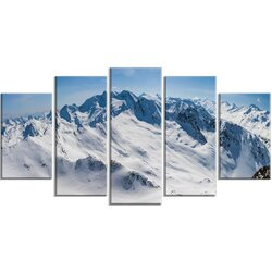 Panoramic Wall Art designart 'snowy mountains panoramic view' 5 piece wall art on