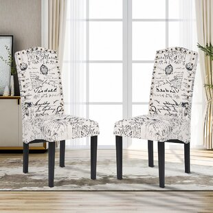 Forada Linen Upholstered Parsons Chair in White Set of 2 by One Allium Way