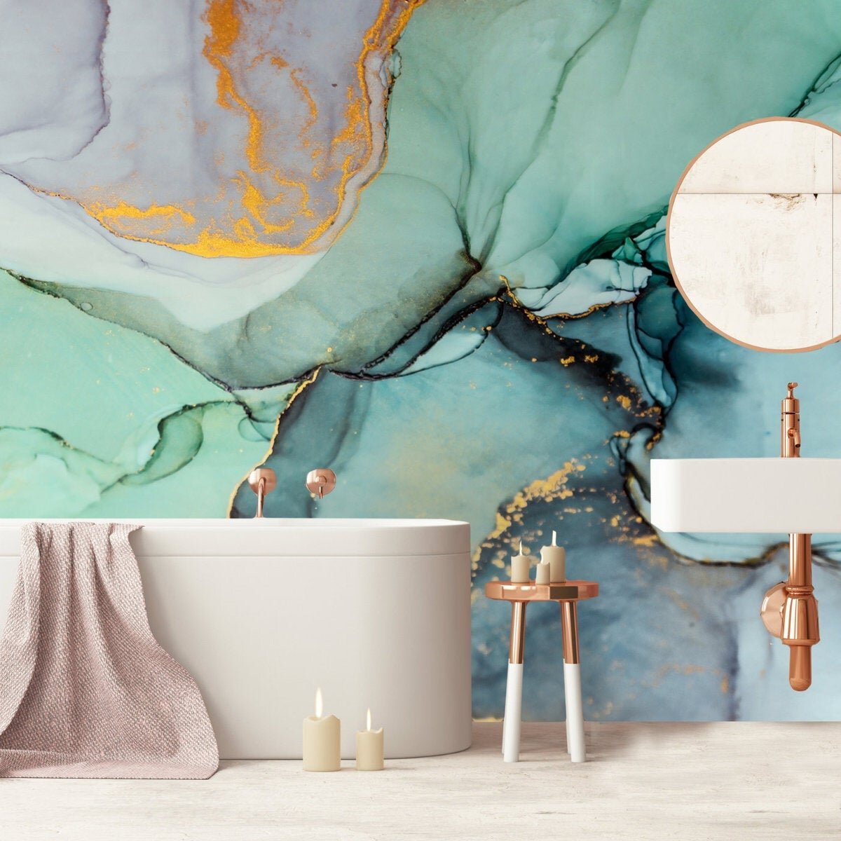 Gk Wall Design Abstract Green And Gold Marble Look Removable Textured Wallpaper Wayfair