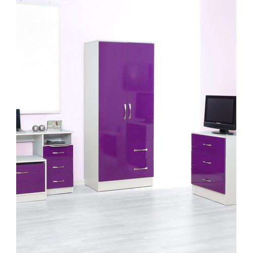 Drehtürenschrank Chaz | Schlafzimmer > Kleiderschränke | Lila/weiß | Mdf | Hokku Designs