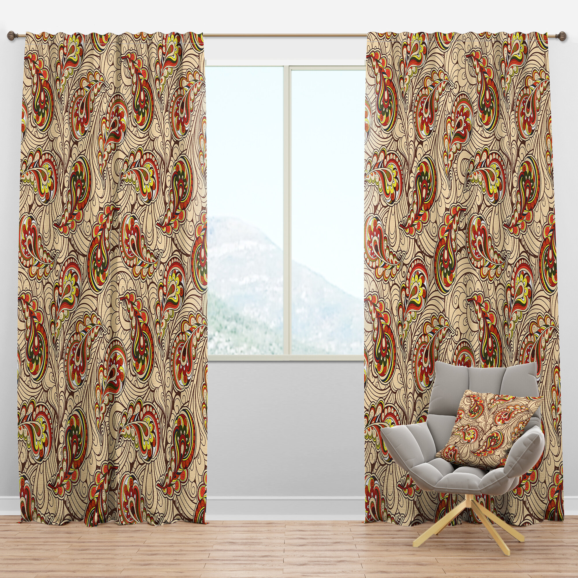 East Urban Home Autumn Paisley Semi Sheer Thermal Rod Pocket Curtain Panels Wayfair