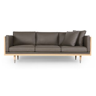 Carey Midcentury Genuine Leather Standard Sofa by Corrigan Studio