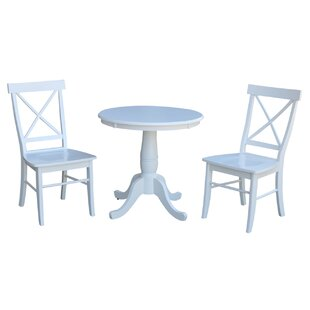 Qunitero 3 Piece Solid Wood Dining Set August Grove