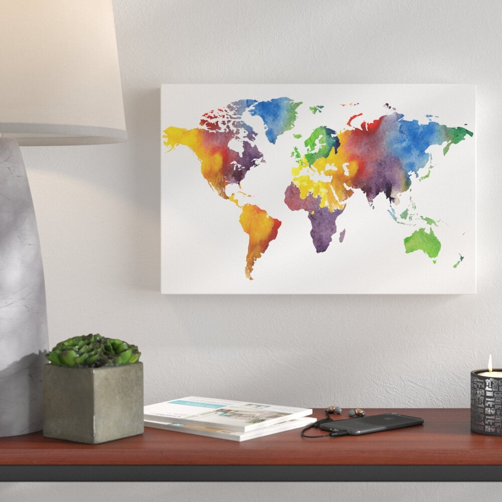 Colorful World Map Art.Wrought Studio Gillham Colorful World Map Graphic Art Print On