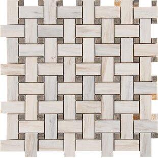 Angora Basketweave Marble Mosaic Tile In Beige Brown