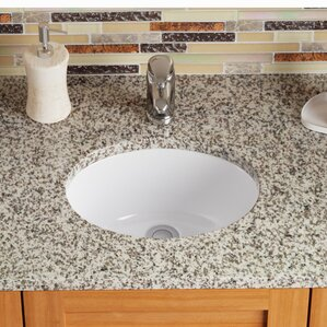 Stone Oval Undermount Bathroom Sink with Overflow