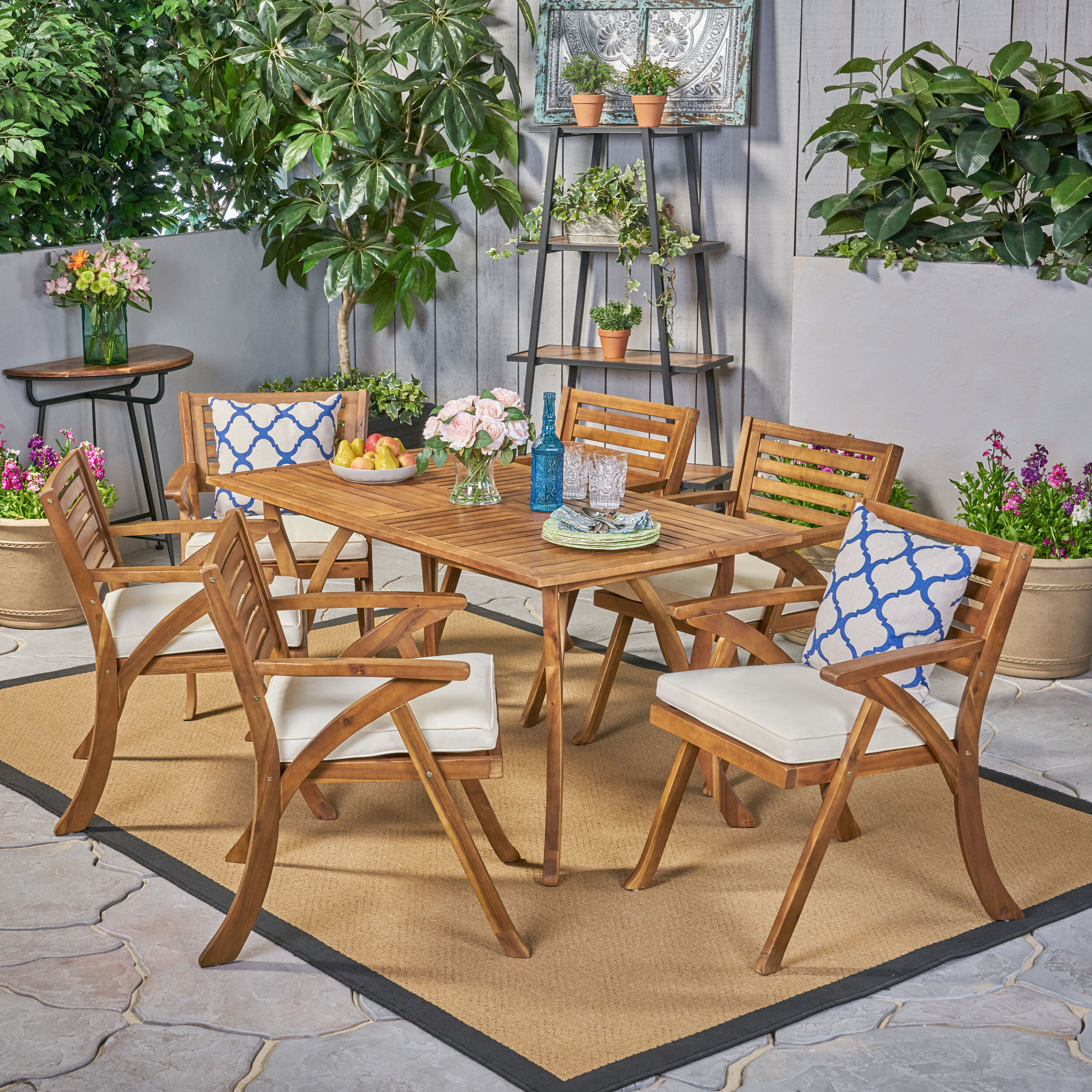 Teak Garden Bistro Set Folding Table /& Chairs Part Assembled Set Outdoor Use