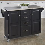 Adelle-a-Cart Kitchen Island with Stainless Steel Top by August Grove®