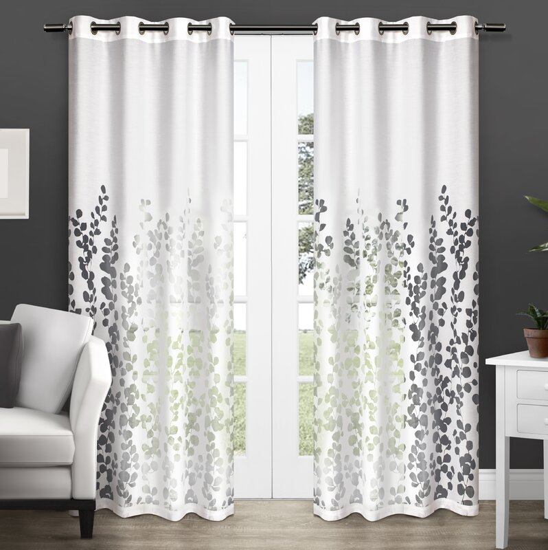 Stanton Nature Floral Room Darkening Grommet Curtain