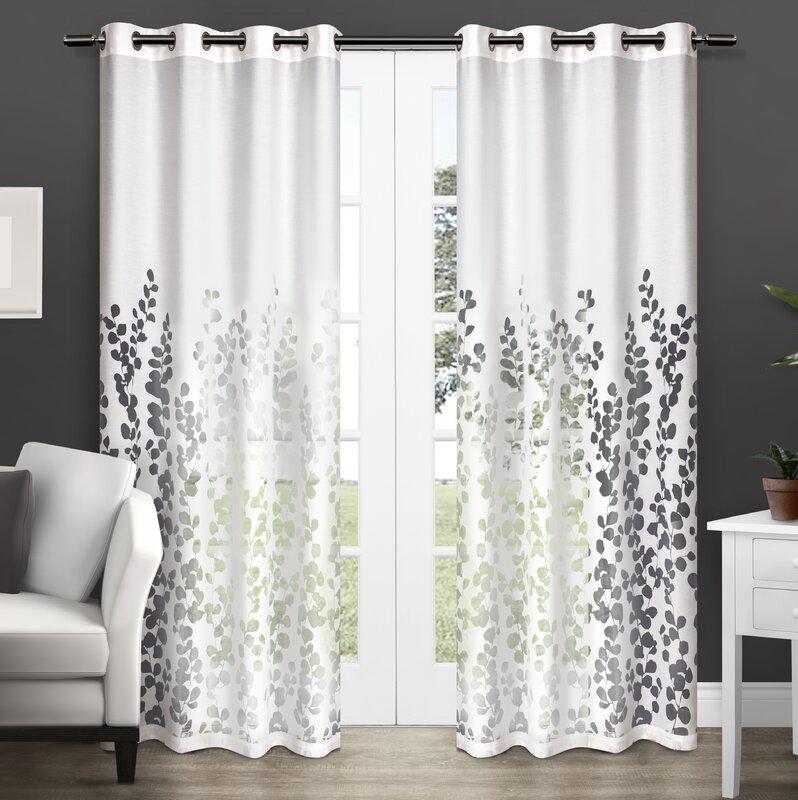 Stanton Nature Floral Room Darkening Grommet Curtain