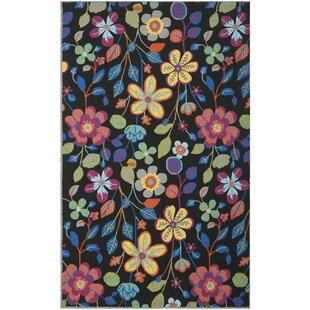 Hayes Floral Indoor/Outdoor Black/Blue/Yellow Area Rug