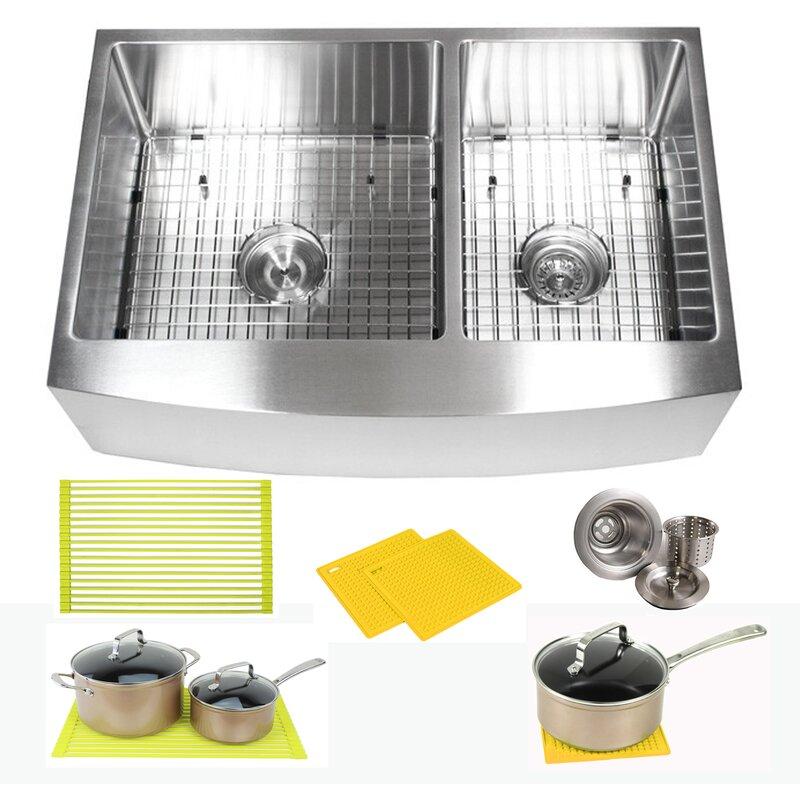 "Ariel 33"" L x 21"" W Double Basin Farmhouse/Apron Kitchen Sink with Accessories"