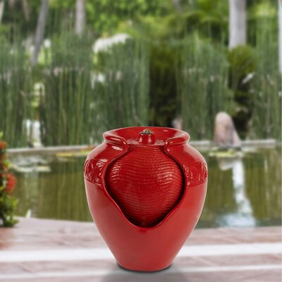 Pure Garden Polystone Glazed Pot Indoor/Outdoor Fountain with Light Finish: Red