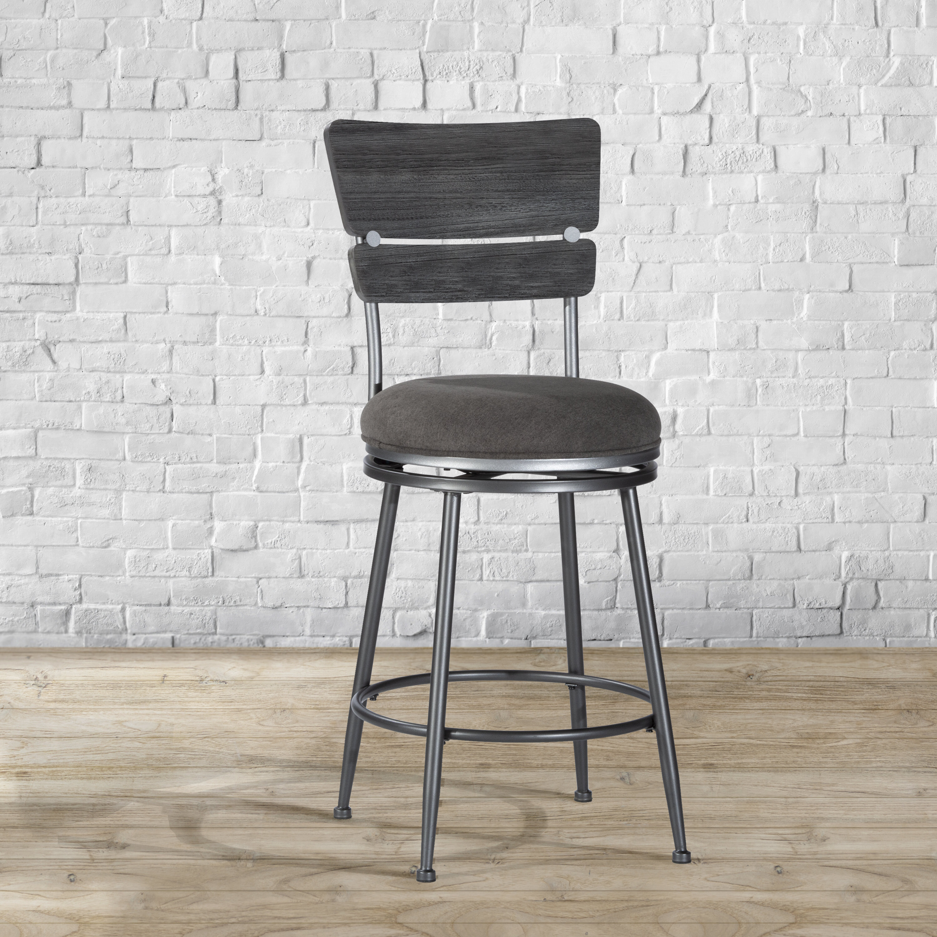 Williston Forge Odaniel Wood Back 26 Swivel Bar Stool Reviews Wayfair