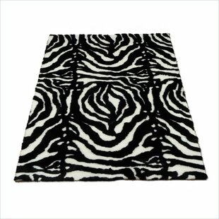 Read Reviews Animal Zebra Black/White Spine Area Rug By Walk On Me
