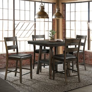 Rutkowski 5 Piece Counter Height Solid Wood Dining Set