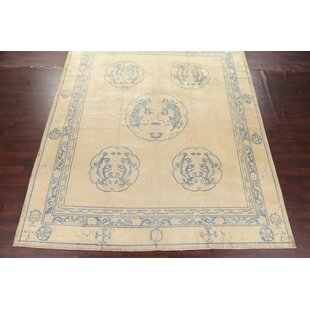 One Of A Kind Alapaha Dragon Chinese Hand Knotted 10 9 X 12 Wool Yellow Gold Area Rug