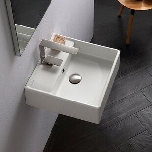 Best Teorema Ceramic 16 Wall Mount Bathroom Sink with Overflow By Scarabeo by Nameeks
