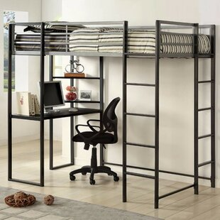 Knipe Metal Twin Loft Bed with Workstation by Harriet Bee