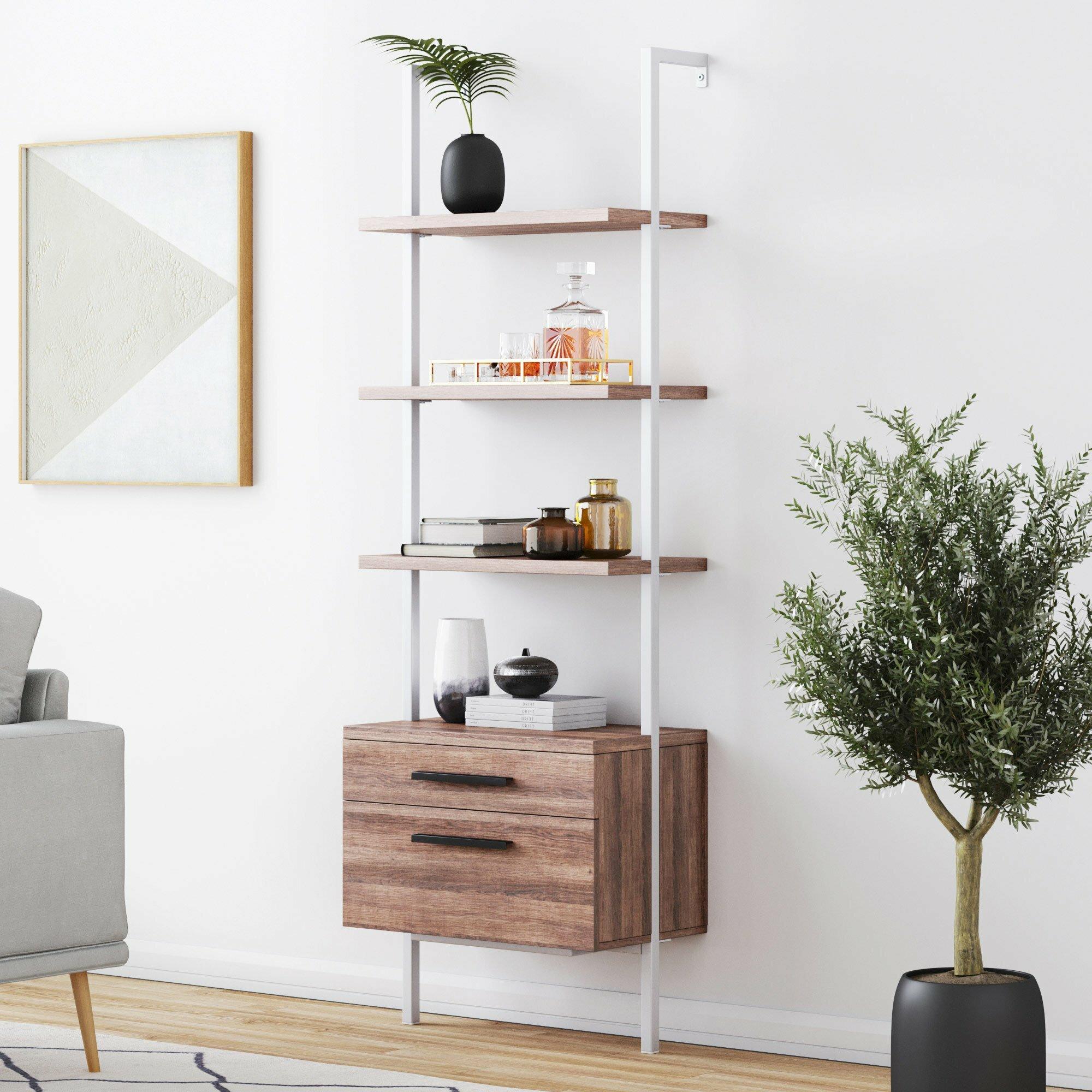 Bathroom Storage Ladder Shelves Bedroom Unit Wicker Baskets Rattan Shabby Chic