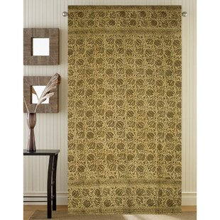 Oquinn Veggie Natural Block Print Floral Room Darkening Single Curtain Panel by World Menagerie
