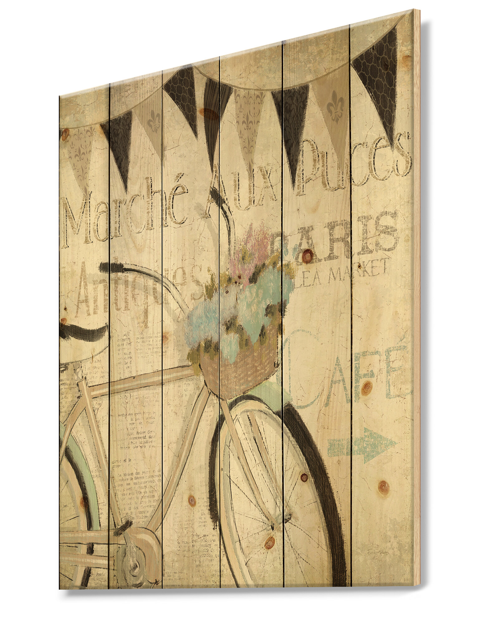 French Country Bicycle Flea Market I Print On Wood