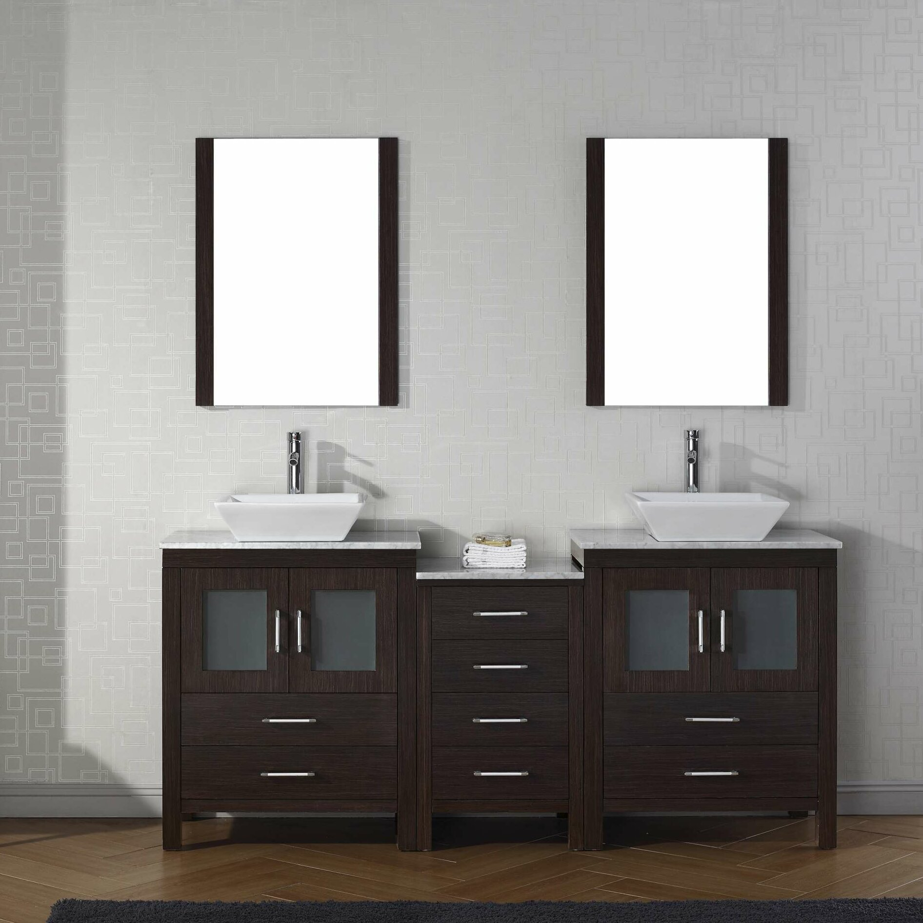 Mercury Row Cartagena 67 Double Bathroom Vanity Set With White Marble Top And Mirror Reviews Wayfair