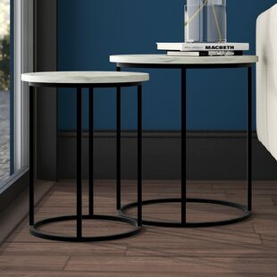 Lauderhill Glamorous Faux Marble and Metallic 2 Piece Nesting Tables