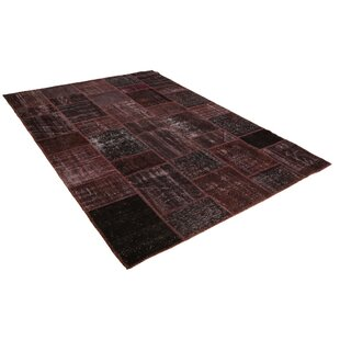 Big Save Kayla Patchwork Hand-Knotted Wool Red/Black Area Rug By Bloomsbury Market
