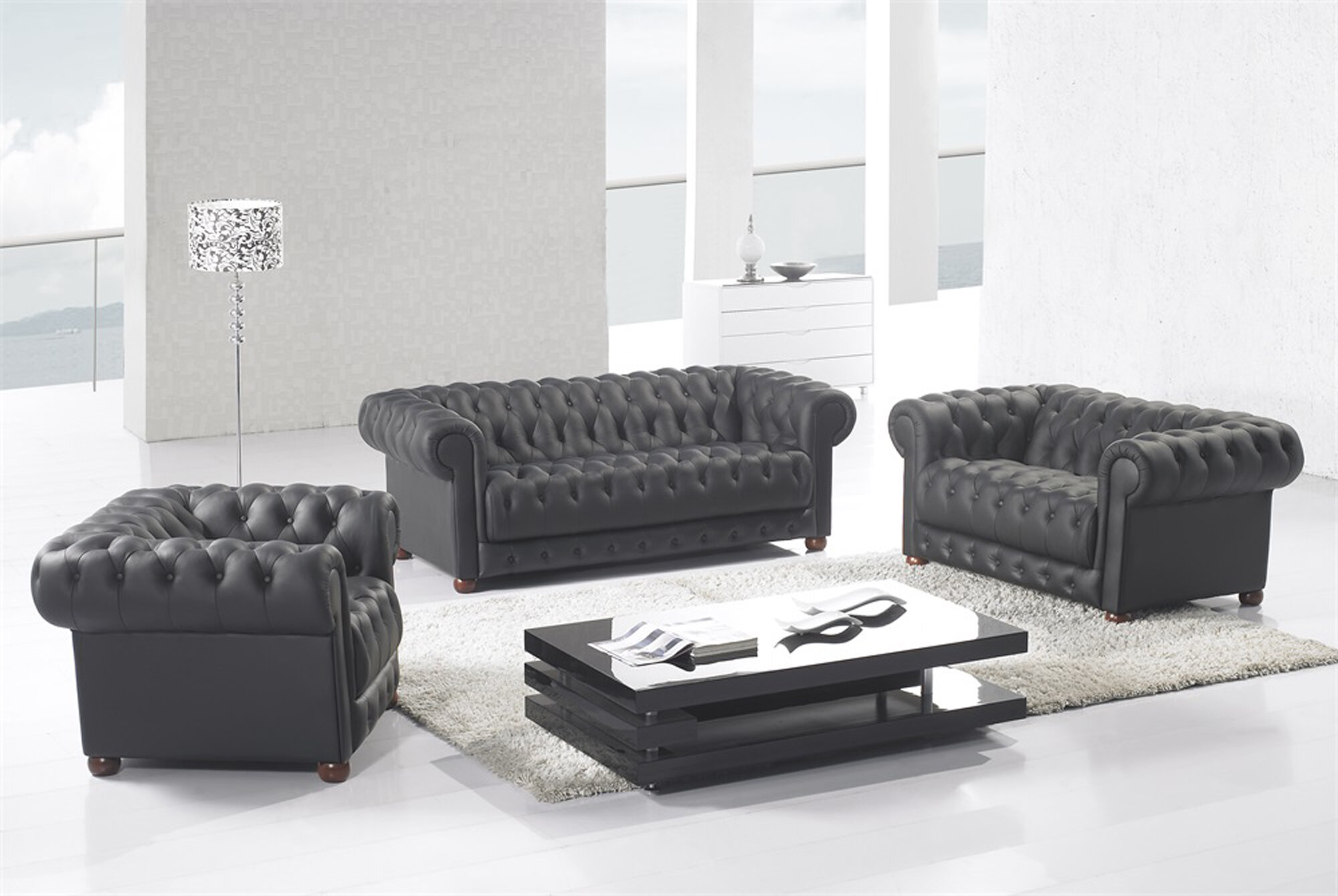 Peggie 3 Piece Leather Living Room Set