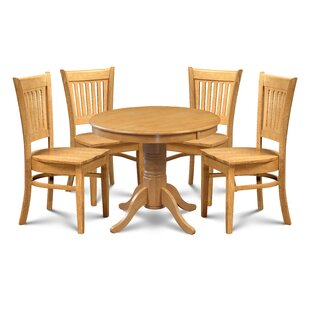 Miriam 5 Piece Solid Wood Dining Set by Breakwater Bay