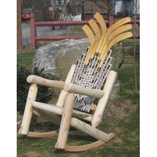Ski Chair Hockey Stick Solid Wood Rocking Adirondack Chair