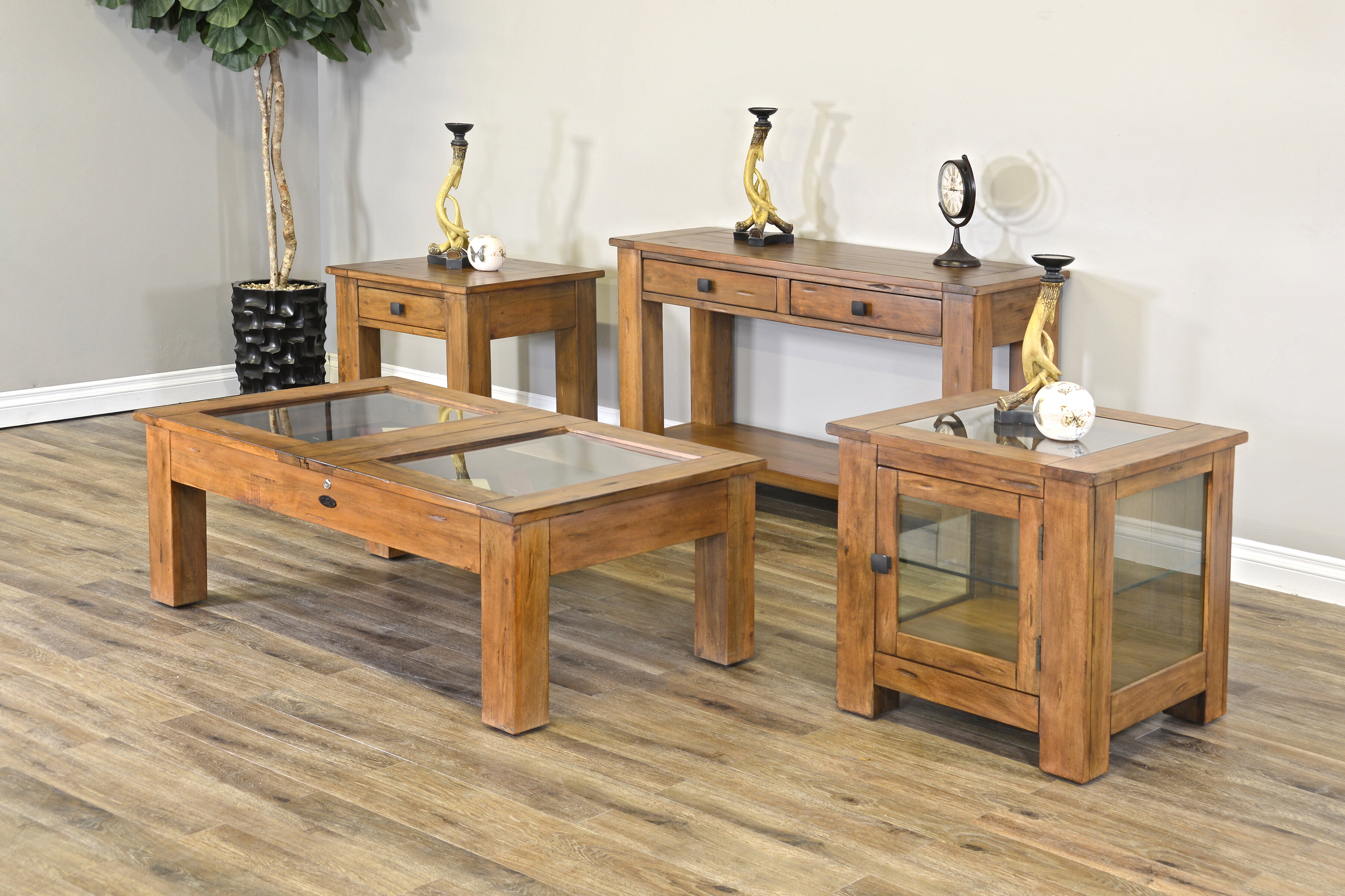 Curio End Table With Storage