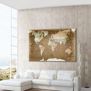 world map photographic print on canvas in brown