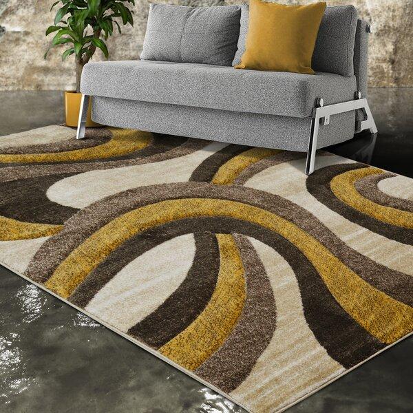 Orren Ellis Elda Abstract Brown Yellow Beige Area Rug Wayfair