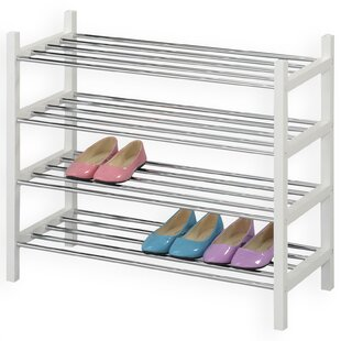 16 Pair Stackable Shoe Rack By Rebrilliant