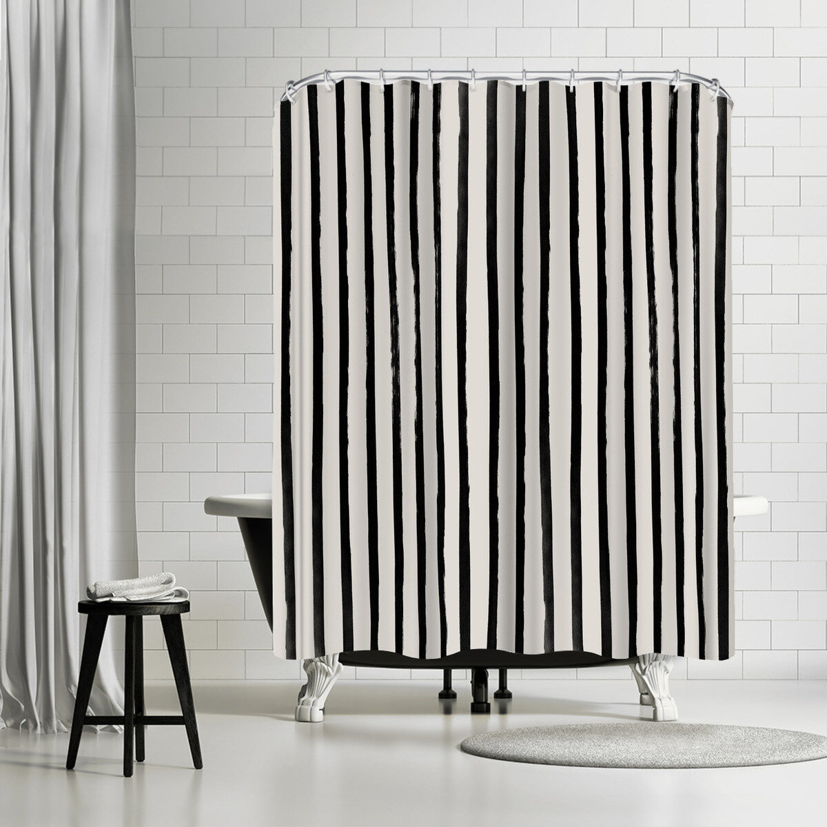 East Urban Home Leah Flores Vertical Black And White Watercolor Stripes Single Shower Curtain Wayfair