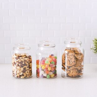 Coffee Candy Style Setter Round Canister Set 3-Piece Glass Jars in 30 Cereal and More Fleur De 44 and 59 Ounces Floral Design with Airtight Stainless Steel Lids for Cookies Sugar Flour Pasta