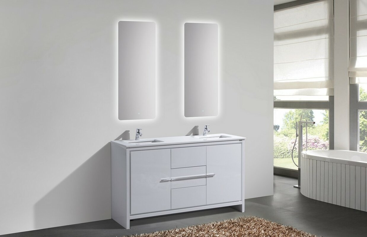 gloss wall products high vanity bathroom mount white bliss kubebath gw floating modern double sink