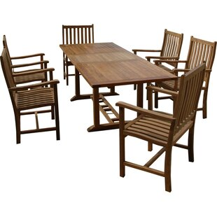 Farnam 7 Piece Teak Dining Set with Cushions