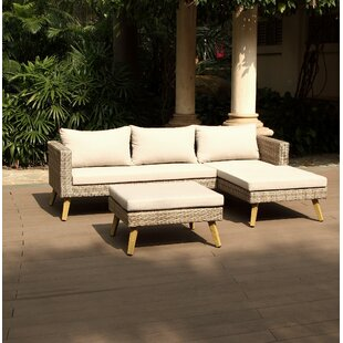 Jacques 4 Piece Rattan Sectional Seating Group with Cushions