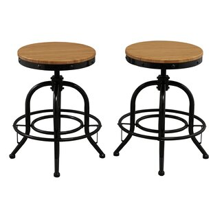 Famis Corp Adjustable Height Swivel Bar stool (Set of 2)