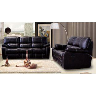 Agastya Reclining 2 Piece Leather Living Room Set by